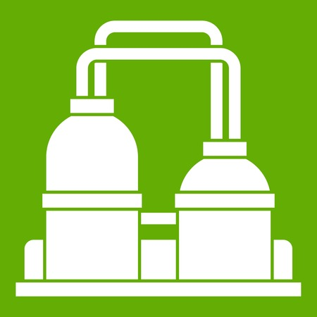 Oil processing factory icon white isolated on green background. Vector illustration