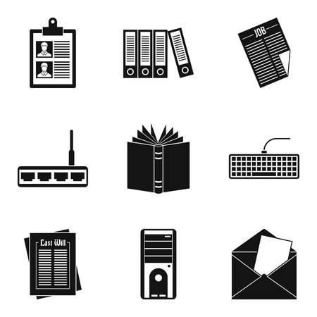 Bureaucrat icons set. Simple set of 9 bureaucrat vector icons for web isolated on white background Illustration