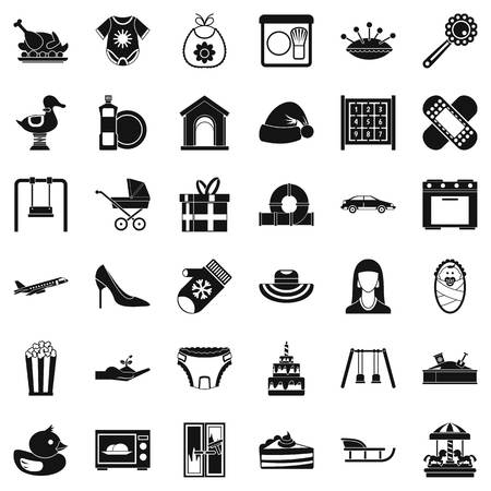 Simple set of 36 child-related vector icons for web isolated on white background. Raising children concept