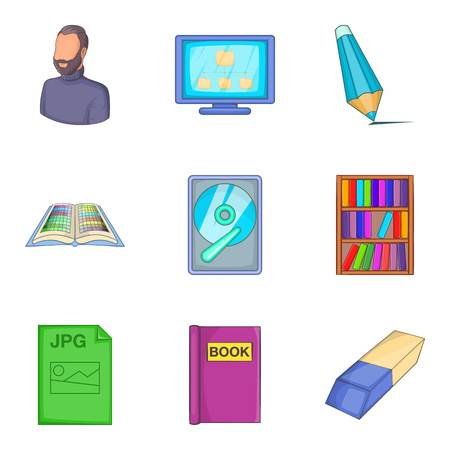 Civil servant icons set. Cartoon set of 9 civil servant vector icons for web isolated on white background