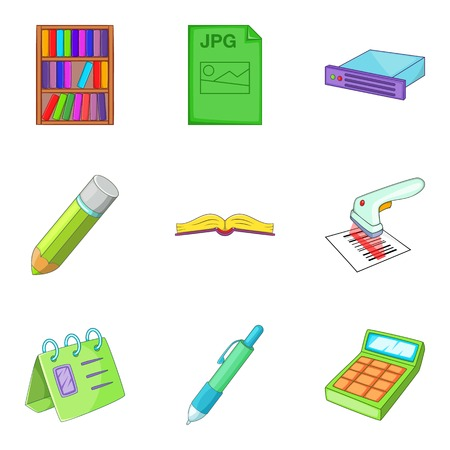Office document icons set. Cartoon set of 9 office document vector icons for web isolated on white background