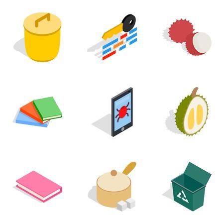 Cabinet icons set, isometric style