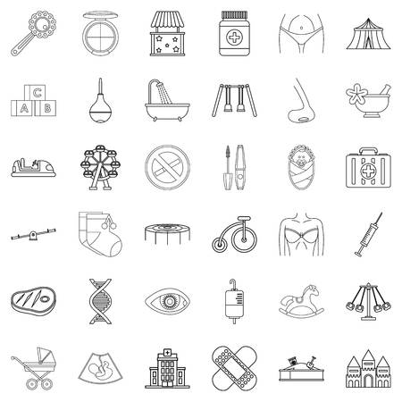 Hereditary icons set, outline style 일러스트