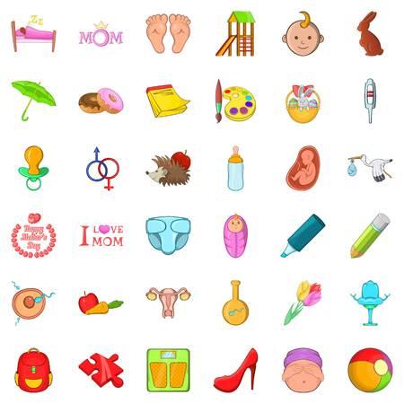 Adolescence icons set Illustration