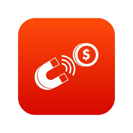 Magnet with coin icon digital red