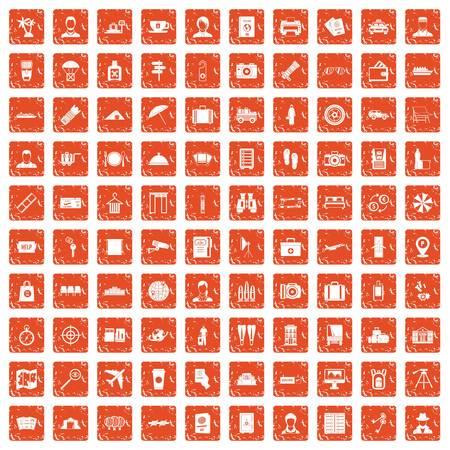 100 passport icons set in grunge orange color