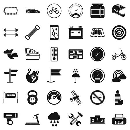 Motor icons set, simple style 矢量图像