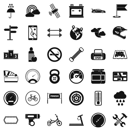 Riding icons set, simple style