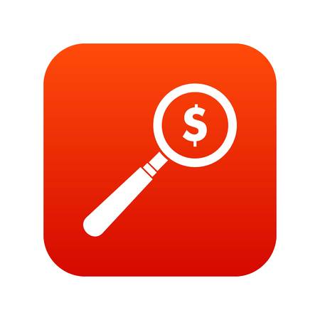 Magnifier icon digital red Illustration