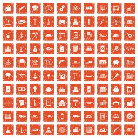 100 plant icons set in grunge orange color