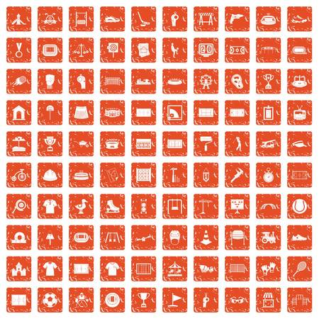 100 playground icons set in grunge style orange color isolated on white background vector illustration Banque d'images - 95354172