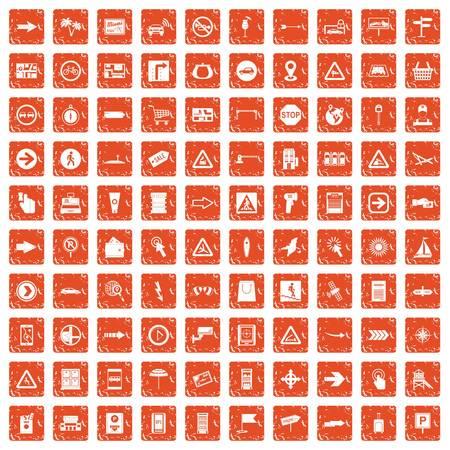 100 pointers icons set grunge orange
