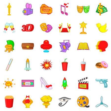 Movie production icons set, cartoon style