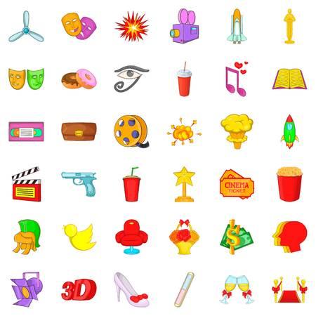 Production icons set, cartoon style. Illustration