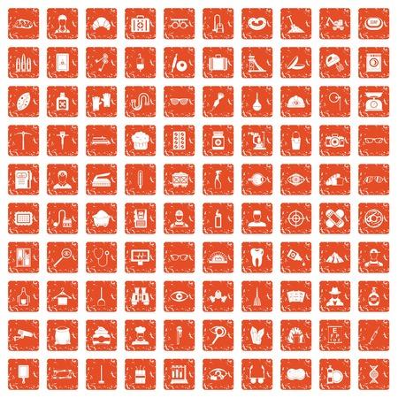 100 profession icons set grunge in orange color. Illustration