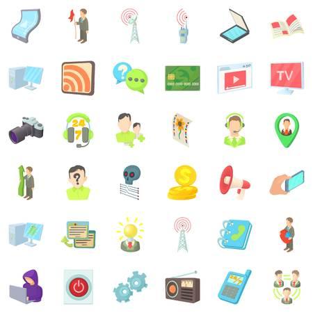 Holding icons set, cartoon style. Illustration