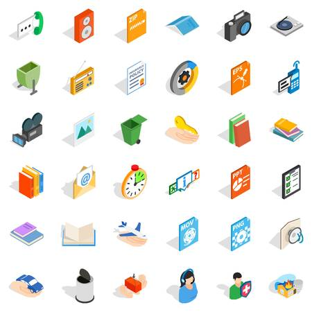 Video surveillance icons set, isometric style