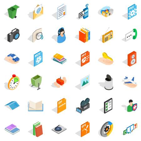 Video observation icons set, isometric style.