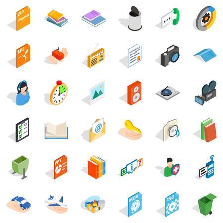 Multimedia file icons set, isometric style illustration.