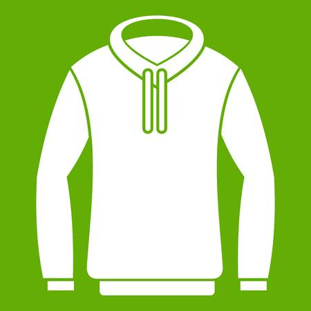 Hoody icon white isolated on green background.