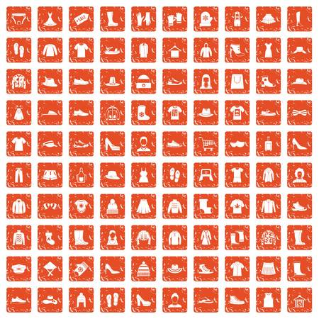 100 rags icons set in grunge style orange color isolated on white background vector illustration.