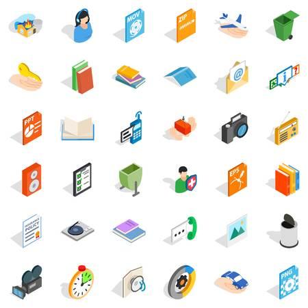 Multimedia content icons set, isometric style. Illustration