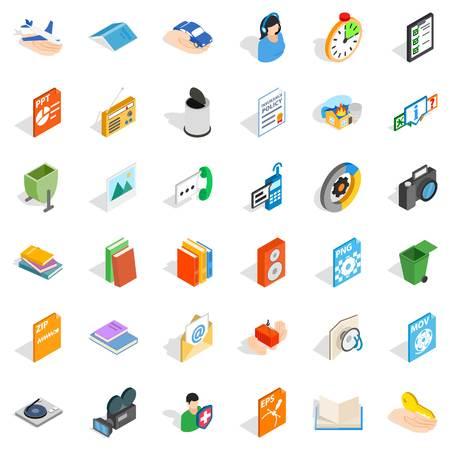 Media content icons set, isometric style. Illustration