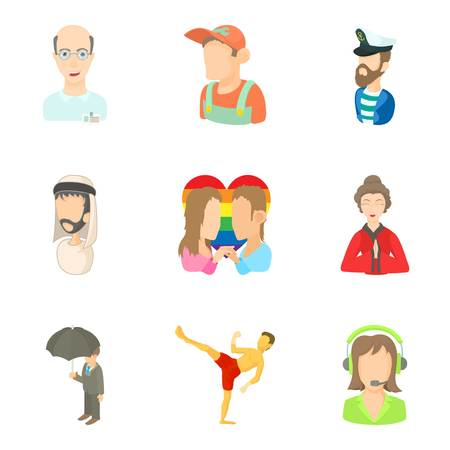 Some people icons set, cartoon style