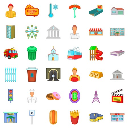 City system icons set, cartoon style Stock Illustratie
