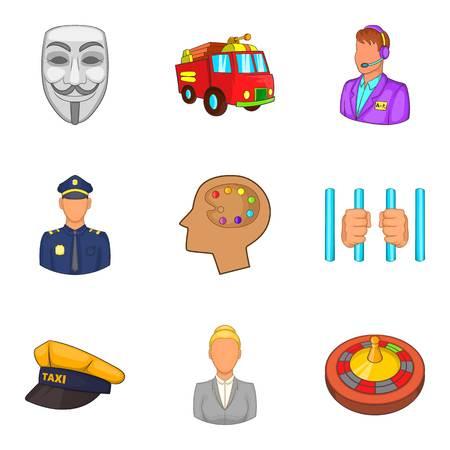 Human activity icons set, cartoon style Ilustrace