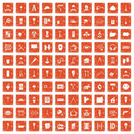 100 renovation icons set in grunge orange color