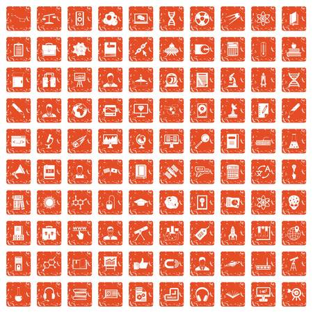 100 researcher science icons set in grunge style orange color isolated on white background vector illustration. Vettoriali
