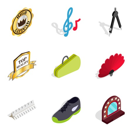 Grunge icons set, isometric style