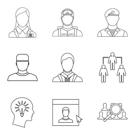 Personage icons set, outline style Vettoriali