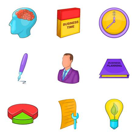 Personal development icons set, cartoon style