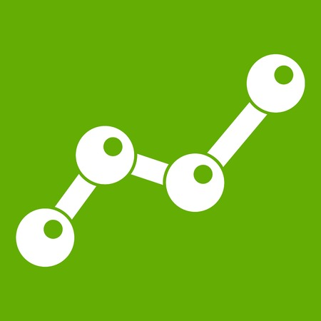 Chart statistics line icon, white design isolated on green background. Vector illustration