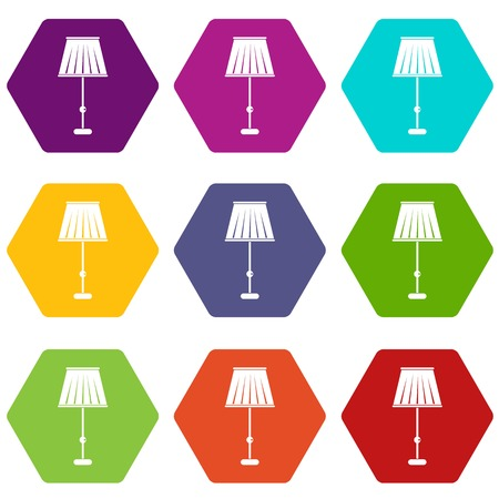 Floor lamp icon set Illustration