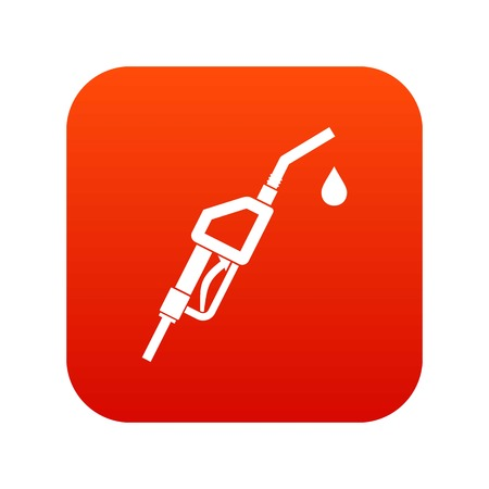 Gasoline pump nozzle icon digital red for any design isolated on white vector illustration. Illustration