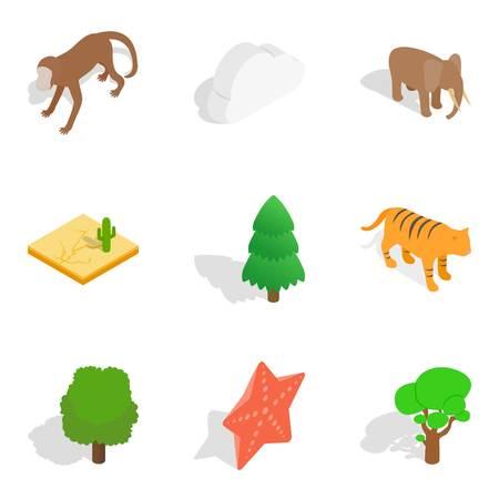 Zoological garden icons set, isometric style Ilustração