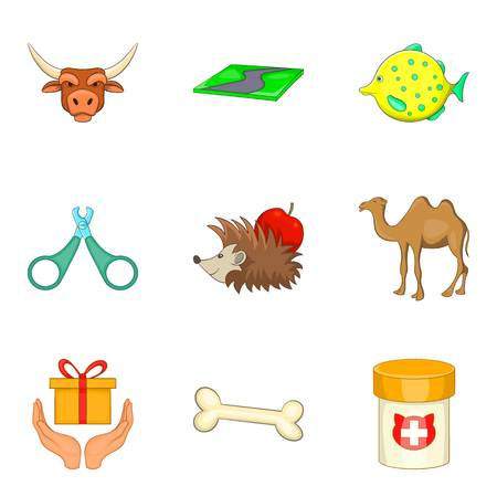Pet shop icons set in cartoon style illustration. Illustration