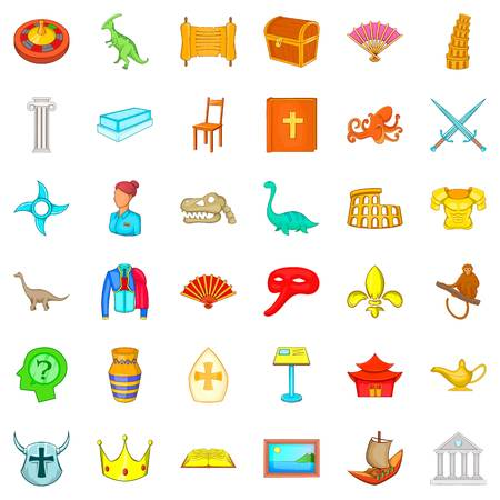 Museum of antiquities icons set, cartoon style