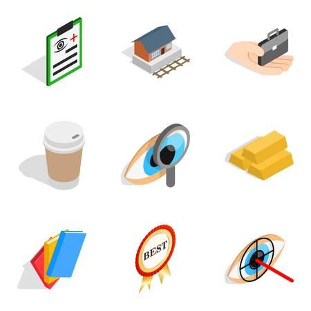 Medical business icons set, isometric style