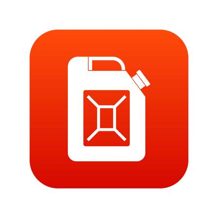 Jerrycan icon digital red background.
