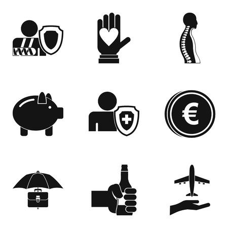 Pharma case icons set, simple style. Illustration
