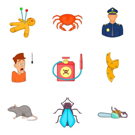 Phobias icons set, cartoon style