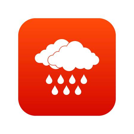 Cloud icon digital red for any design isolated on white vector illustration