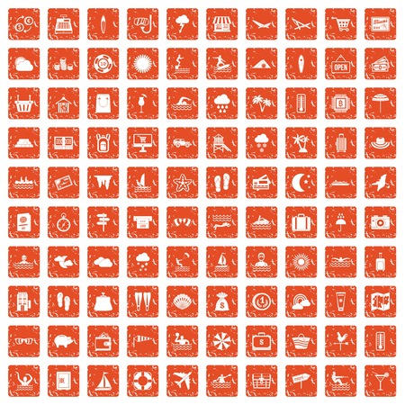100 seaside resort icons set in grunge style orange color isolated on white background vector illustration