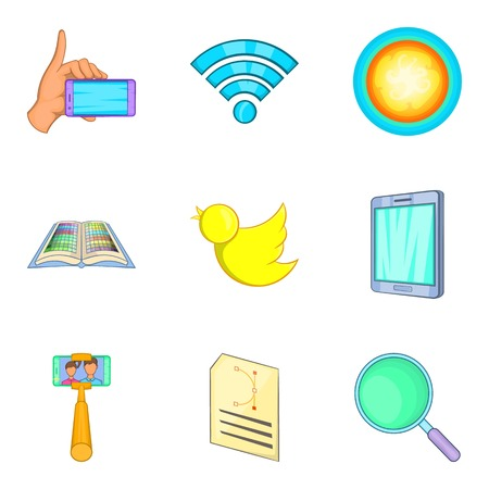 Impression icons set. Cartoon set of 9 impression vector icons for web isolated on white background
