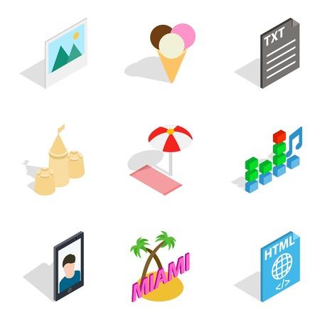 Holiday photograph icons set. Isometric set of 9 holiday photograph vector icons for web isolated on white background