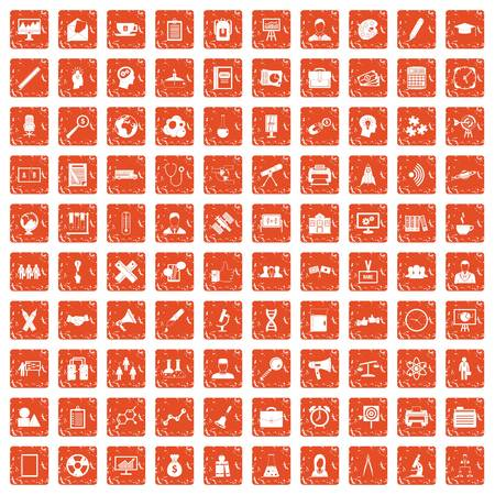 100 seminar icons set in grunge style orange color isolated on white background vector illustration